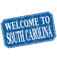 welcome to South Carolina blue square grunge stamp vector image