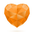Orange polygon heart vector image