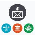 Mail receive icon Envelope symbol Get message vector image vector image