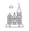 cathedral gothic church line icon sig vector image