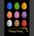 easter eggs and brush for coloring eggs vector image