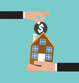 hand give a coin to house buying real estate vector image