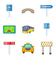 road work ahead icons set cartoon style vector image