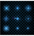 Shine blue stars glitters sparkles vector image