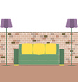 Sofa With Modern Lamp On Brick Background vector image