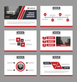 Red black presentation templates Infographic set vector image