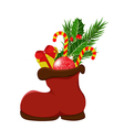 Christmas boots with gifts and sweets vector image