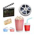 cinema movie icons set realistic items film