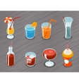 Isometric 3d drinks icons vector image vector image
