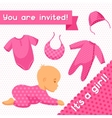 It is a girl Baby shower invitation vector image vector image