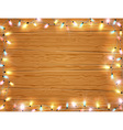 Christmas light frame christmas banner on wooden vector image