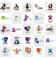 Collection of colorful abstract origami logos vector image