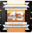 Forty three years anniversary celebration golden vector image