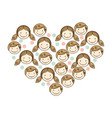 people together inside the heart icon vector image