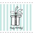 Postcard happy birthday with present box vector image