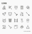set of cleaning service thin line icons vector image