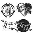 Vintage Valentines day emblems vector image