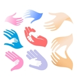 Isolated abstract adult and child hands logo set vector image