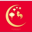 Chinese lanterns and cock hanging from the moon vector image