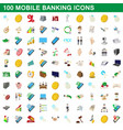 100 mobile banking icons set cartoon style vector image