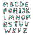 color english alphabet in doodle style vector image