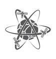 globe symbol with satellites vector image
