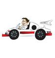 happy boy driving car vector image