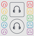 headphones icon sign symbol on the Round and vector image
