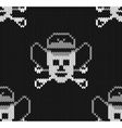 Knitted background with skulls in a cowboys hat vector image