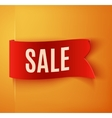 Red realistic detailed curved paper sale banner vector image