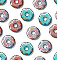 Seamless pattern of detailed donuts on white vector image
