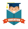 boy student graduation distance e-learning graphic vector image