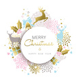 Christmas and new year gold deer decoration design vector image
