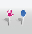 Sticker with two hands vector image