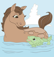 Horse and Fish Friend vector image
