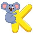 Alphabet K with Koala cartoon vector image