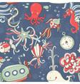 Underwater creatures cute cartoon seamless pattern vector image vector image