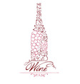 Abstract floral red wine bottle vector image