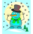 Blue snowman with hat and scarf vector image