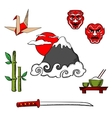 Japan travel icons and objects vector image