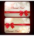 Sale cards with red gift bows vector image