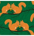 Seamless pattern with squirrels pairs vector image