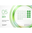 Desk Calendar for 2017 Year May Week Starts Monday vector image