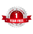 1 year free button vector image vector image