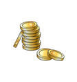 stack of gold coins sketch vector image