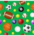 Sports ball seamless pattern on green background vector image vector image