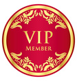 Red VIP member badge with golden vintage pattern vector image
