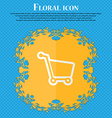 Shopping cart Floral flat design on a blue vector image
