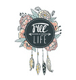 Boho style background Flowers feathers and leaves vector image