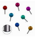 modern colorful pins set on white vector image